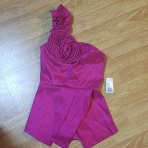 Fuchsia Pink One shoulder Top